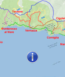 Corniglia Italy Map.Cinque Terre Walking Paths Map