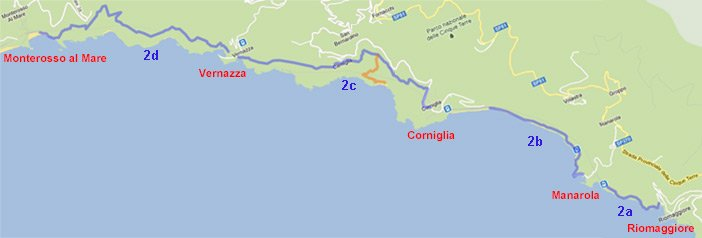 Map of the Blue Trail in Cinque Terre, preview
