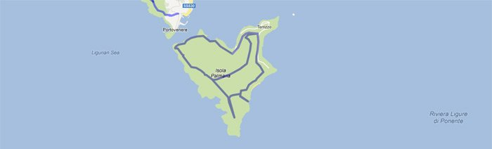 Map of trails on the island of Palmaria, preview