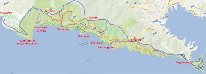 Map of all hiking trails of the Cinque Terre, preview