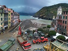 Reconstruction works in Vernazza, Italy
