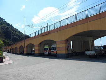 Near the railway bridge in Monterosso (2 years after the flood), Italy