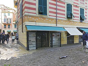 Shop opposite the church of St. John the Baptist in Monterosso (flooding, 2011), Italy