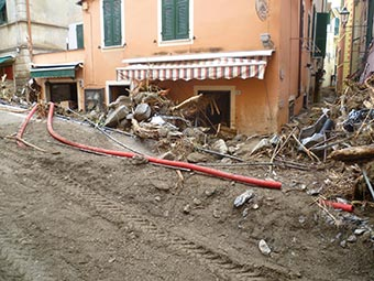A street in Monterosso (flooding, 2011), Italy