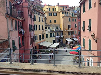 View from the railway station in Vernazza (2 years after the flood), Italy