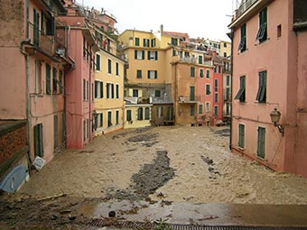 View from the railway station in Vernazza (flooding, 2011), Italy