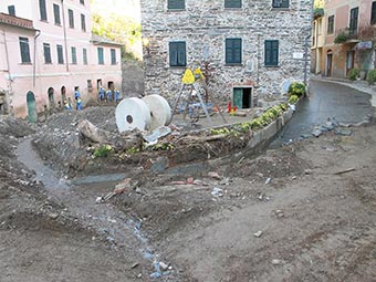 Area behind the station in Vernazza (flooding, 2011), Italy