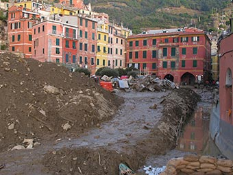 Beach and Main Square in Vernazza (flooding, 2011), Italy