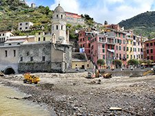 Main Square and the beach in Vernazza (a couple of months after the floods), Italy