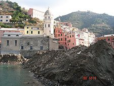 Main Square and the beach in Vernazza (flooding, 2011), Italy